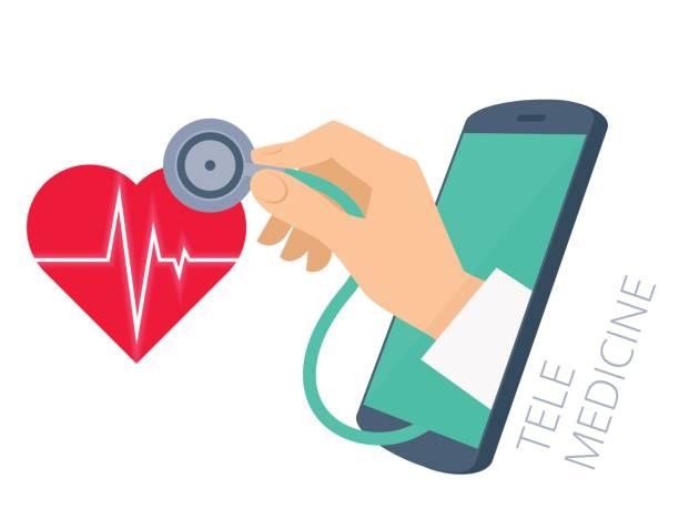 ilustraciones, imágenes clip art, dibujos animados e iconos de stock de mano del doctor estetoscopio a través de la pantalla del teléfono comprobación del latido del corazón. - telehealth