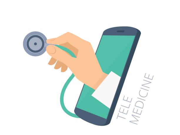 Doctor's hand holding stethoscope through the phone screen checking pulse. vector art illustration
