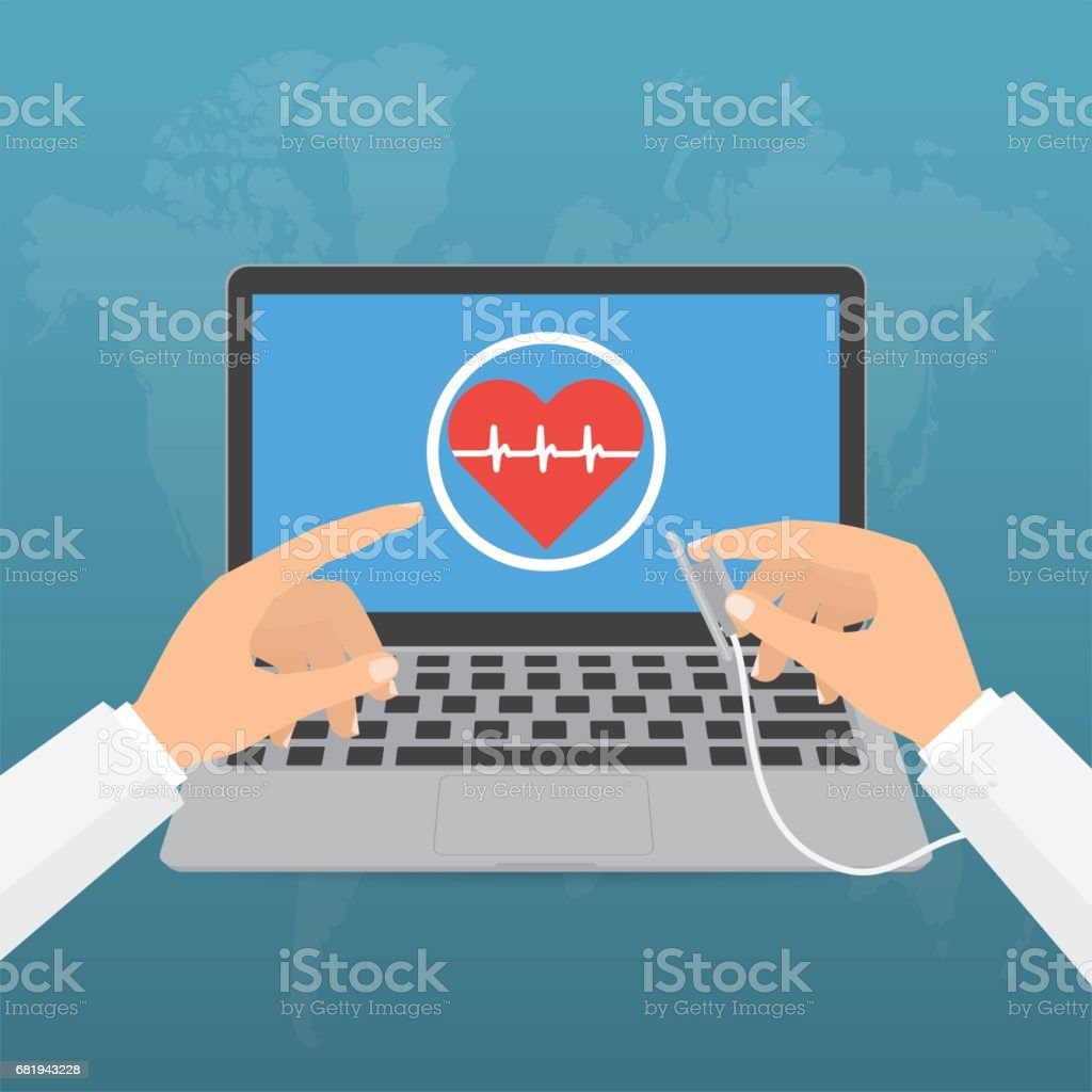 Doctor's hands with stethoscope and pointing computer laptop screen for telemedicine concept on blue background. Vector illustration healthcare on internet of think technology trend. - Royalty-free Accidents and Disasters stock vector
