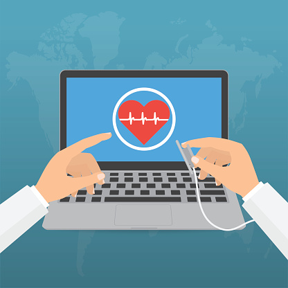 Doctors Hands With Stethoscope And Pointing Computer Laptop Screen For Telemedicine Concept On Blue Background Vector Illustration Healthcare On Internet Of Think Technology Trend Stock Illustration - Download Image Now