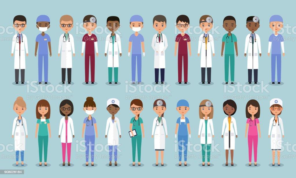 Médicos en diseño plano. Personajes animados de médicos. Ilustración de vector. - ilustración de arte vectorial