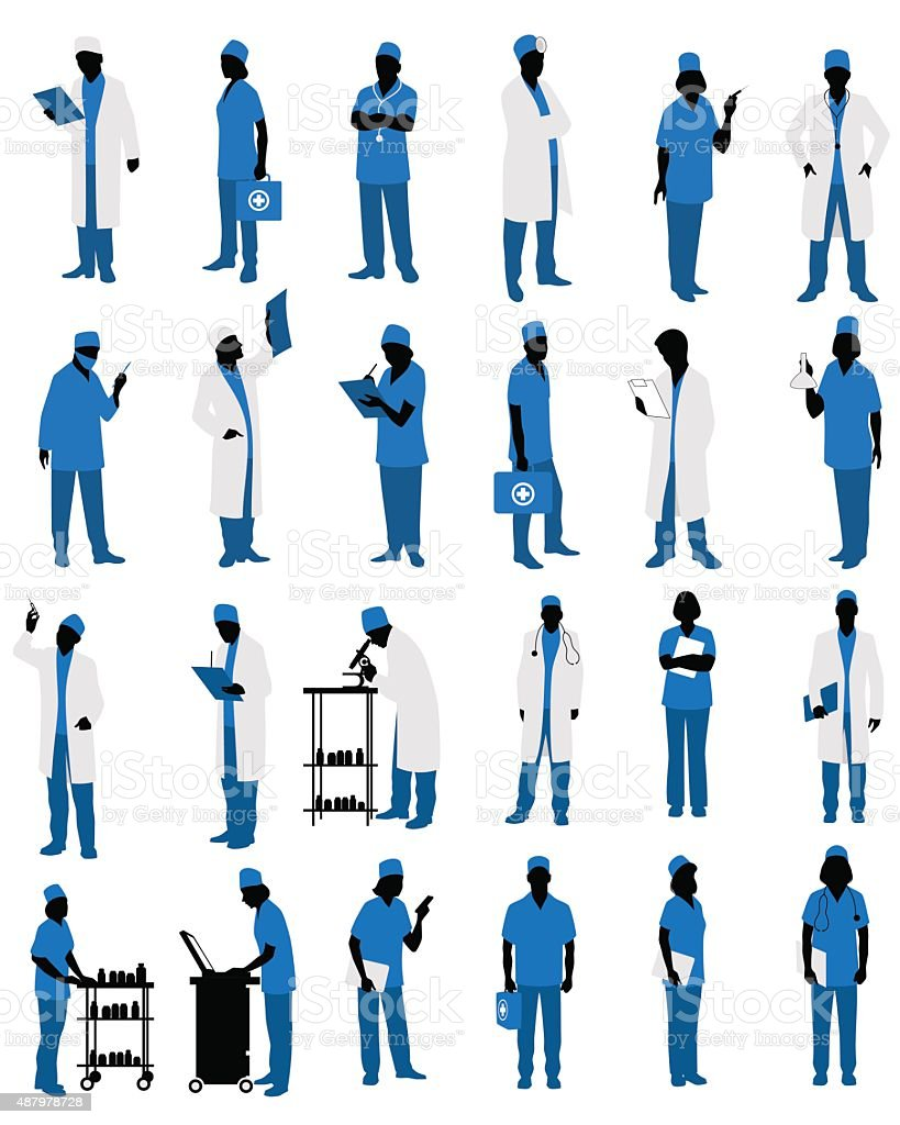 Doctors in uniform silhouettes vector art illustration