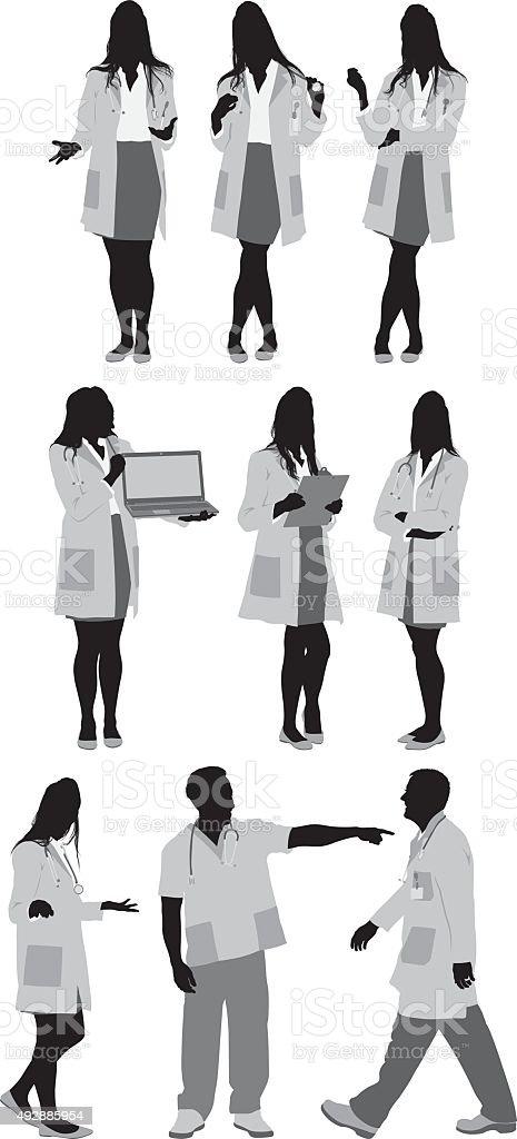 Los médicos en diversas medidas - ilustración de arte vectorial