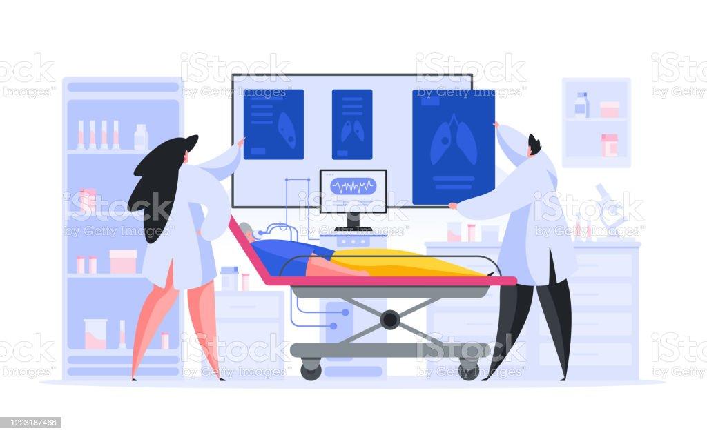 Läkare inspektera röntgenbilder av äldre patient - Royaltyfri Akademikeryrke vektorgrafik