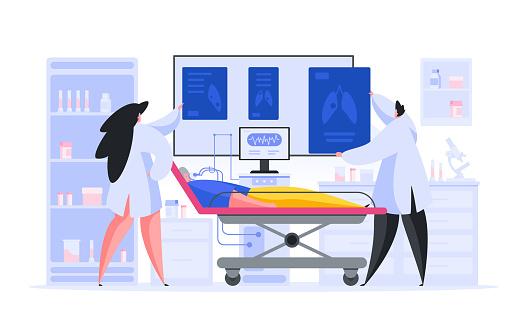 Läkare Inspektera Röntgenbilder Av Äldre Patient-vektorgrafik och fler bilder på Akademikeryrke