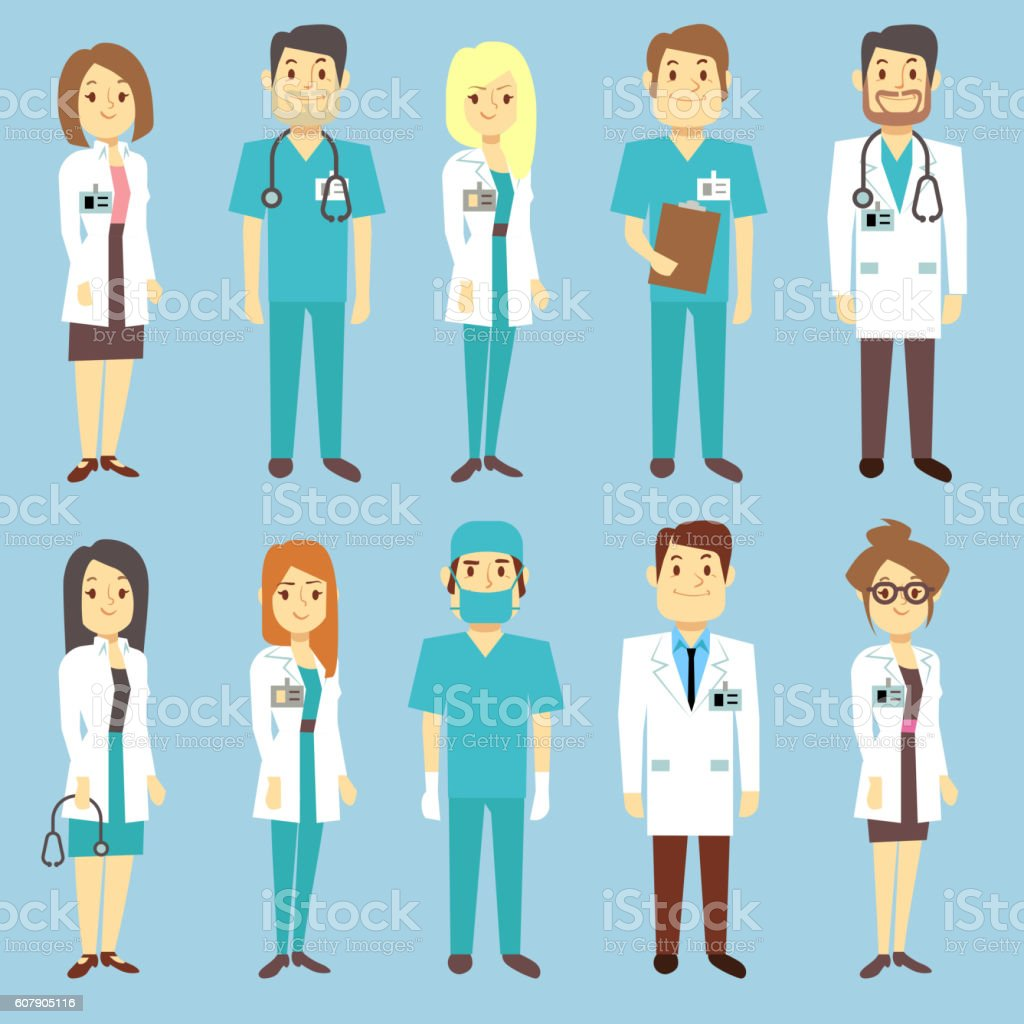 db15eb6c8a145 Doctors nurses medical staff people vector characters in flat style -  Illustration .