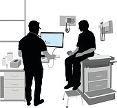 A vector silhouette illustration of a teenage boy visiting the doctor.  He sits on the exam table while the doctor looks up informaiton on his computer.  Medical equipment and supplies are present.