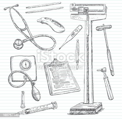 Hand-drawn doodle pencil sketch of various items you might encounter during a visit to the doctor. Includes: stethoscope, old-school thermometers (Celsius and Fahrenheit), digital thermometers, scale, reflex hammer, scalpel, blood pressure cuff, syringe, otoscope and a clipboard with one of the many forms you must fill out. All images are grouped and on separate layers making for easy changes. Lined paper on layer that can be easily removed. XL 5000x5000 jpeg included.