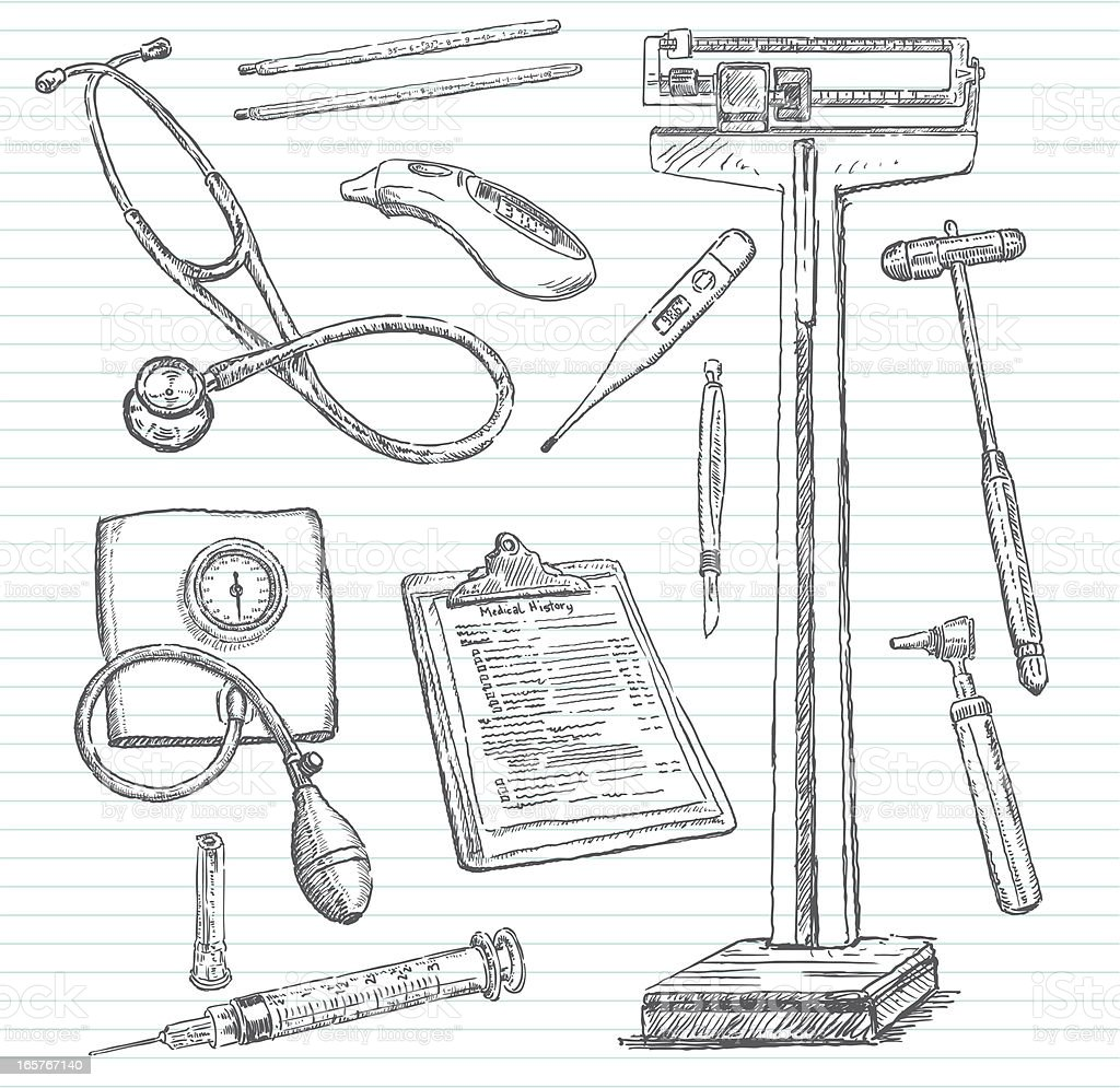 Doctor's Office Doodle Sketches vector art illustration