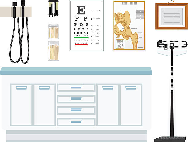 doctor's office elements - doctors office stock illustrations, clip art, cartoons, & icons