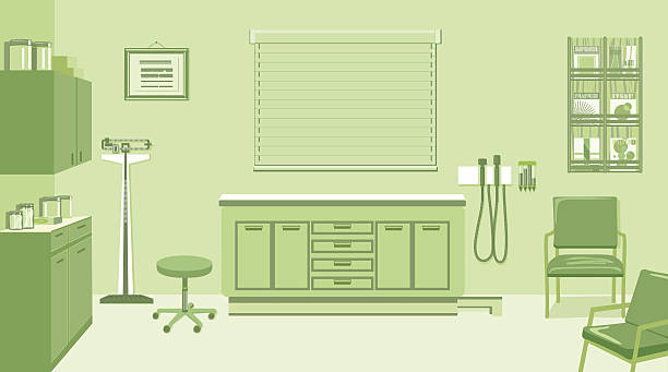 doctors office in green - doctors office stock illustrations, clip art, cartoons, & icons