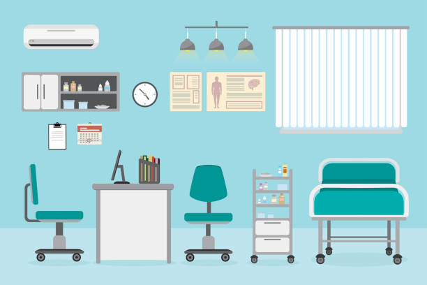 Doctor's office in hospital,Room with furniture and medical equipment Empty Doctor's office in hospital,Room with furniture and medical equipment, flat vector illustration bed furniture stock illustrations