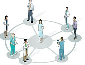 An illustration of doctors encircling a patient on a wheel-shaped network.  The patient is standing on a large gray circle.  Lines extend from the gray circle toward each doctor.  Each doctor is standing on a small gray circle.  The patient is a woman with long, dark hair.  She is wearing a blue gown.  Each doctor is wearing a different outfit.  Two are wearing scrubs, three are wearing lab coats, and two are in street dress.  There is a total of seven doctors.  Three of them are women and four of them are men.  Most of the doctors are looking at the patient.