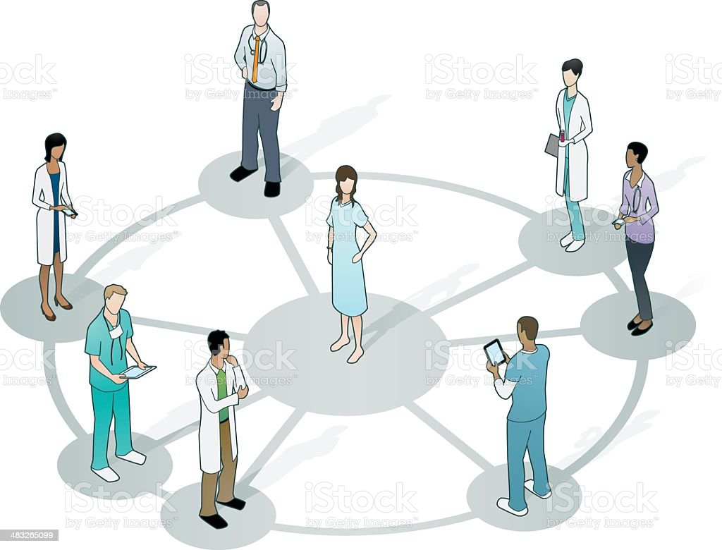 Doctors on wheel network with patient at center vector art illustration