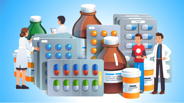 Doctors prescribing various meds for patient. Big pills, capsules blisters, glass bottles with liquid medicine & plastic tubes with caps. Drug medication & supplements collection. Flat vector illustration Doctors prescribing various meds for patient. Big pills, capsules blisters, glass bottles with liquid medicine & plastic tubes with caps. Drug medication & supplements collection. Realistic flat style vector object illustration prescription meds stock illustrations