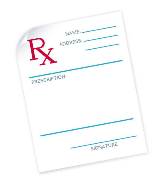 illustrazioni stock, clip art, cartoni animati e icone di tendenza di doctor's prescription note - farmaco su prescrizione