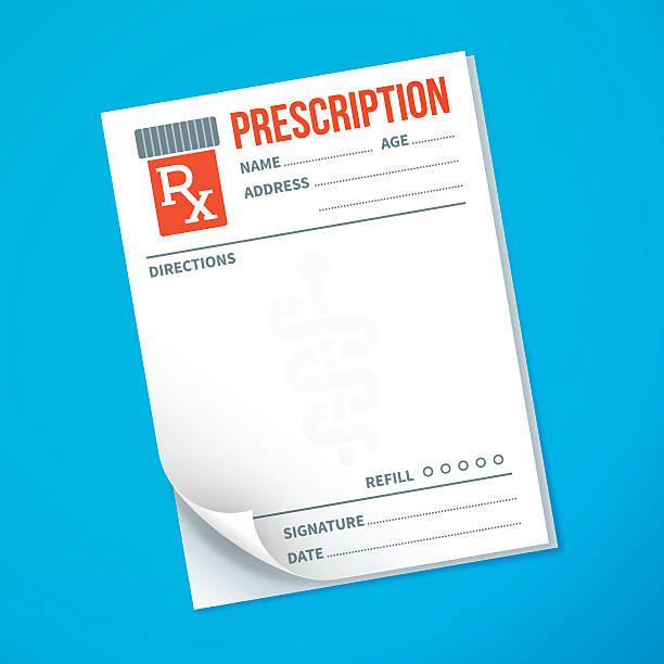 illustrazioni stock, clip art, cartoni animati e icone di tendenza di prescrizione del medico - farmaco su prescrizione