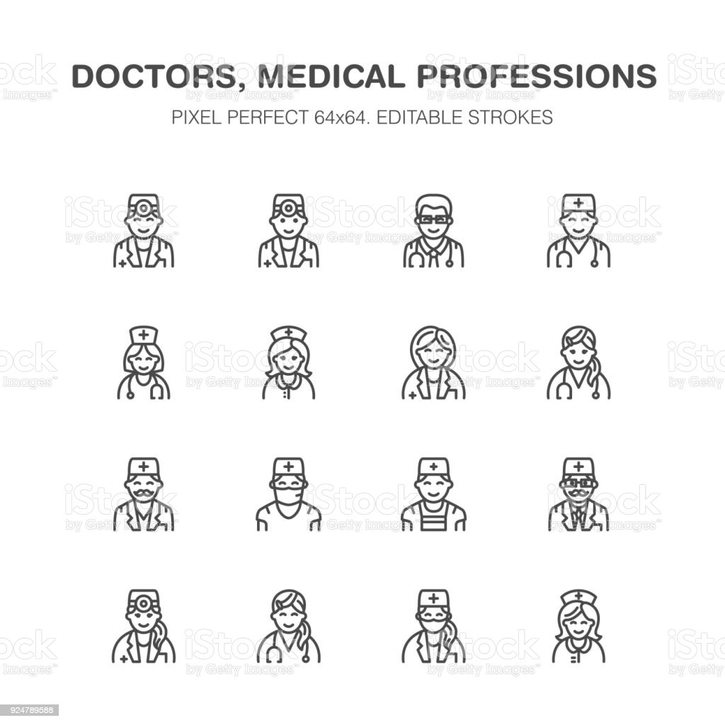 Doctors professions. Medical occupations - surgeon, cardiologist, dentist therapist, physician, nurse intern. Hospital clinic outline signs Pixel perfect 64x64 vector art illustration