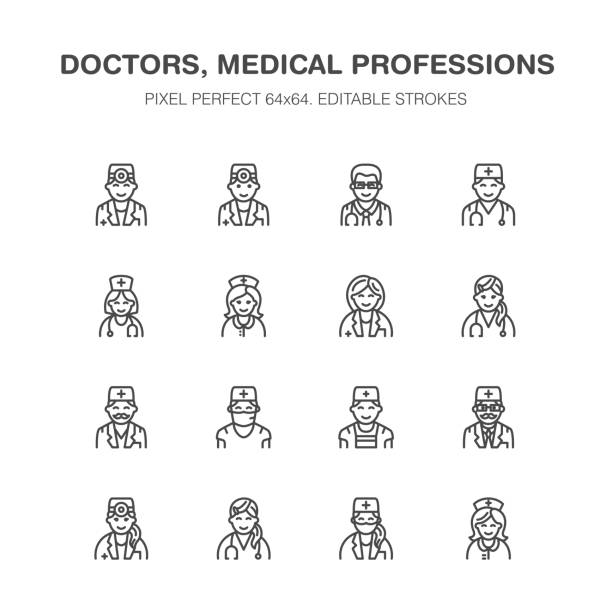 Doctors professions. Medical occupations - surgeon, cardiologist, dentist therapist, physician, nurse intern. Hospital clinic outline signs Pixel perfect 64x64 Doctors professions. Medical occupations - surgeon, cardiologist, dentist therapist, physician, nurse intern. Hospital clinic outline signs Pixel perfect 64x64. radiology stock illustrations
