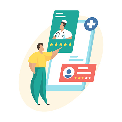 Doctors rating and review. Online medical consultation. Patient evaluating doctor ranking. Flat vector illustration