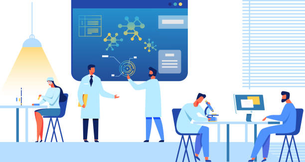Doctors, Researchers Team Works Flat Illustration Doctors and Researchers Team Works at Research Center or Laboratory. Female and Male Medical Experts and Scientist Study, Discuss, Analyze. Nanomedicine and Nanotechnology Flat Vector Illustration nanoparticle stock illustrations
