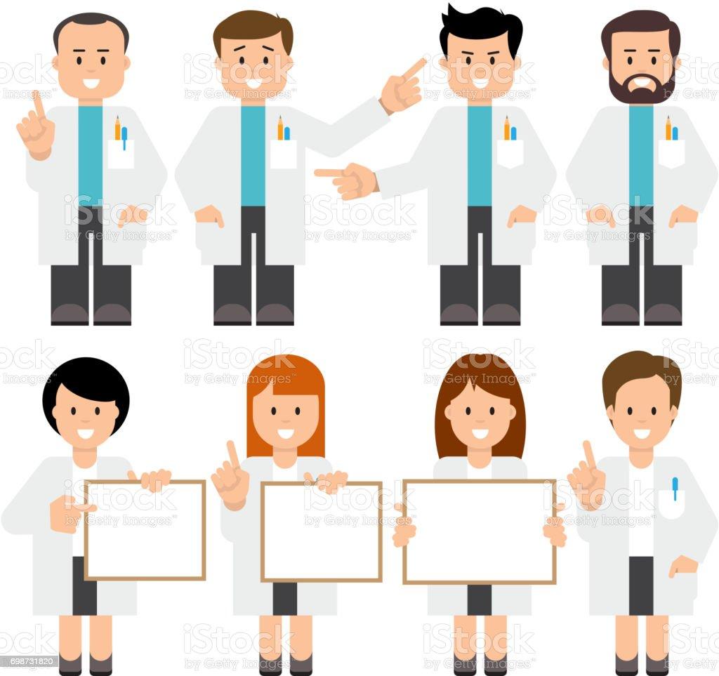 Médicos, científicos. - ilustración de arte vectorial