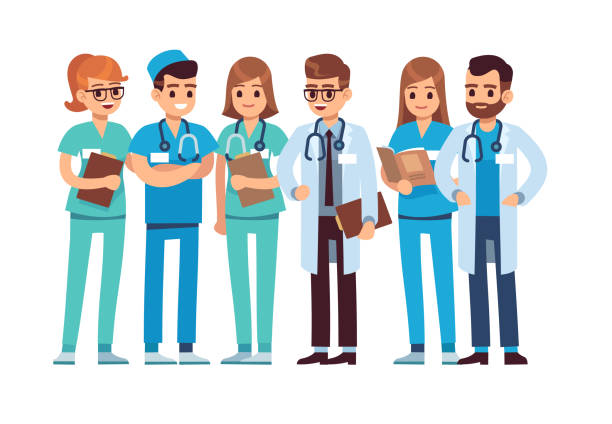 illustrazioni stock, clip art, cartoni animati e icone di tendenza di doctors set. medical staff team doctor nurse therapist surgeon professional hospital workers group medic, cartoon vector characters - personale medico