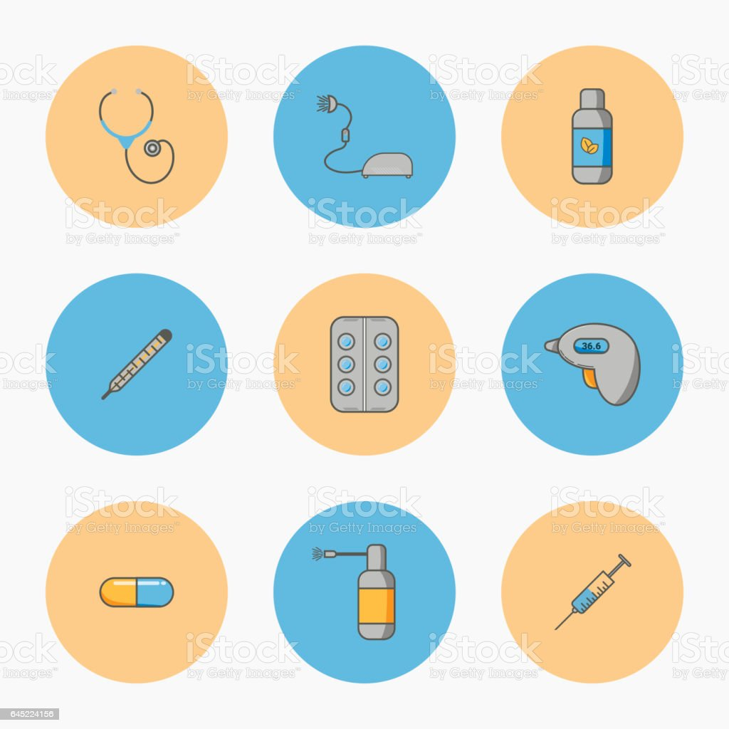Doctor's set of simple vector icons vector art illustration