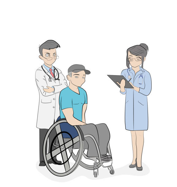 doctors stand near a person in a wheelchair. medical subjects. vector illustration. - old man standing background stock illustrations, clip art, cartoons, & icons