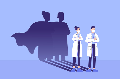 Doctors standing confidently and superhero shadow appears behind on the wall. Saving life medical concept. Fighting against coronavirus pandemic. Epidemic. Strong. Brave. Courage. Vector illustration