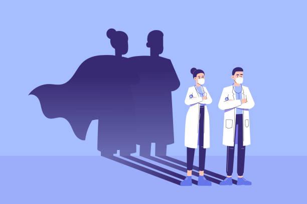 illustrations, cliparts, dessins animés et icônes de les médecins debout avec confiance et l'ombre de super-héros apparaît derrière sur le mur. sauver le concept médical de vie. lutte contre la pandémie de coronavirus. épidémie. forte. courageux. courage. illustration de vecteur - medecin covid