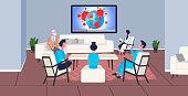 doctors team in masks watching breaking news 2019-nCoV flu spreading of world floating influenza virus coronavirus pandemic concept horizontal full length vector illustration