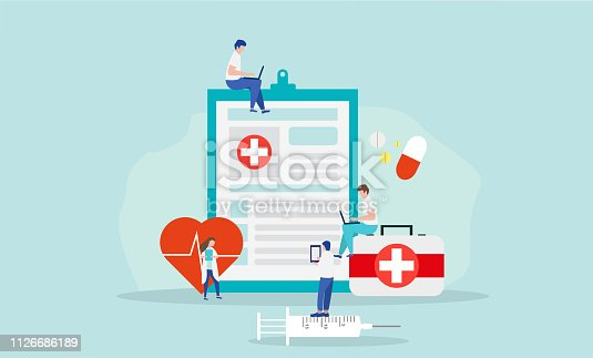 Doctors team. Medical flat design with a group of miniature tiny people. Online medical consultation and support, illustration of medical service. Online doctor, health service, medical consultation vector concept. Female and male medical staff. Vector illustration in flat style