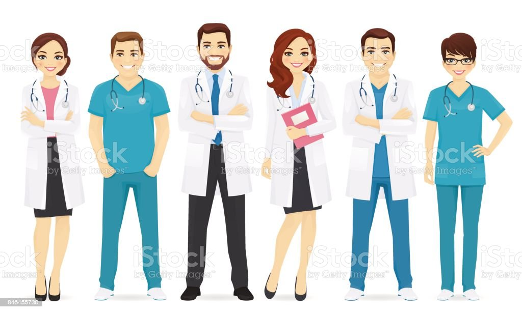 Los médicos equipo - ilustración de arte vectorial