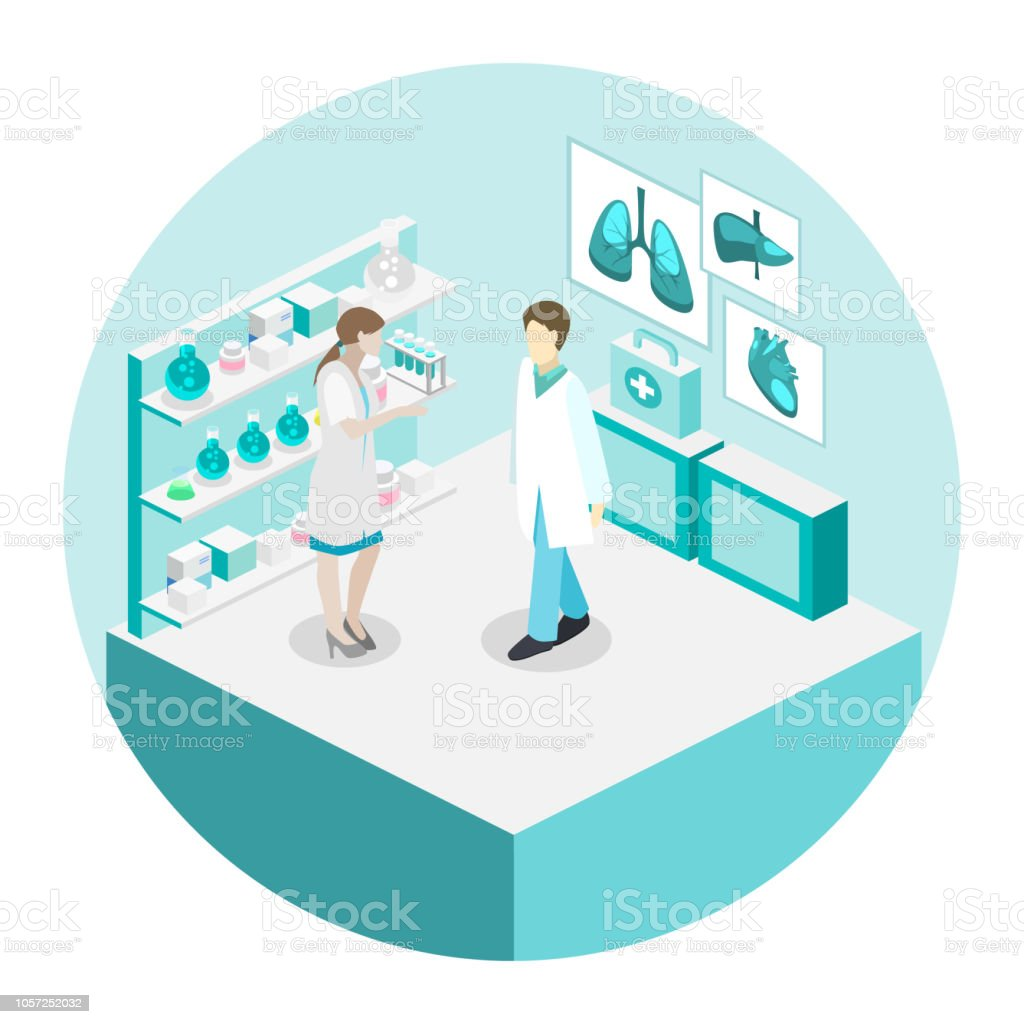 Ärzte, die Behandlung der Patienten. Wohnung 3D illustration – Vektorgrafik