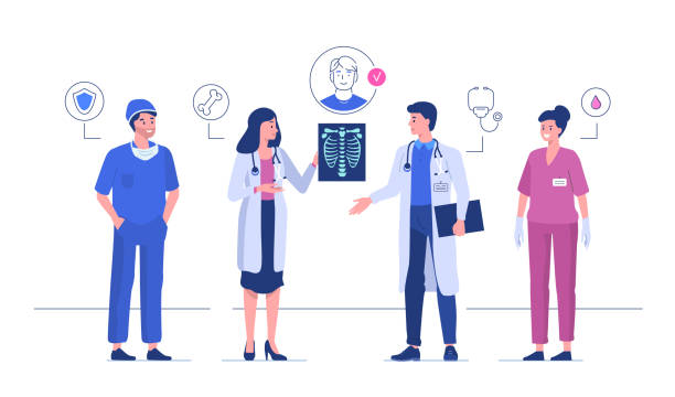 doctors Doctors meeting in hospital and talking together. Flat style vector illustration isolated on white background. scientific imaging technique stock illustrations