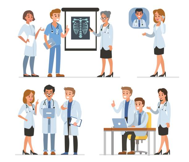 Doctors Doctors characters collection. Vector medicine illustration. medical x ray stock illustrations