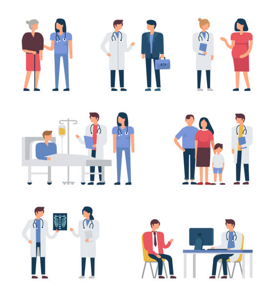 Doctors Different medical staff with their patients.  Flat style minimal vector illustration isolated on white background. doctor and patient stock illustrations
