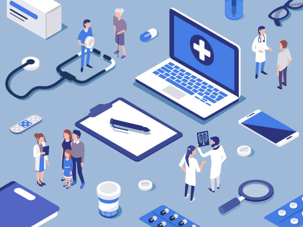 doctors Different medical staff with their patients.  Healthcare concept. Flat isometric  vector illustration. doctor and patient stock illustrations