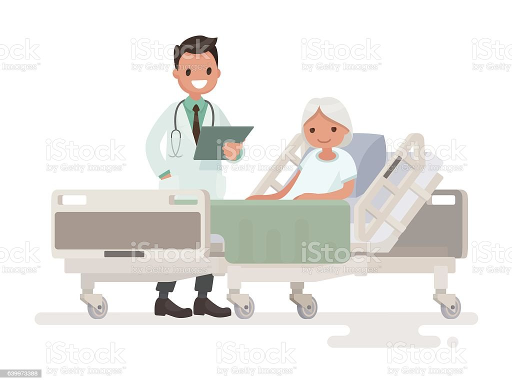 Doctor's visit to the ward of patient  elderly woman vector art illustration