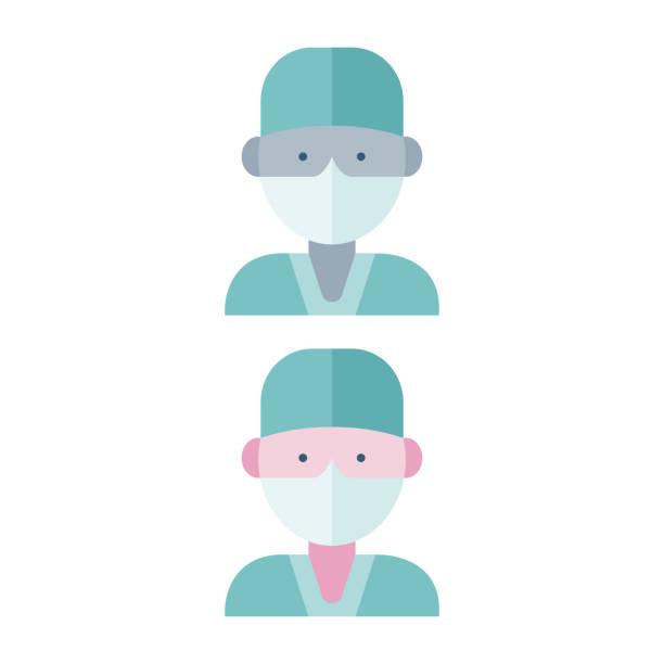 ärzte tragen eine gesichtsmaske - ffp2 maske stock-grafiken, -clipart, -cartoons und -symbole