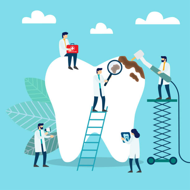 doctors who treat giant teeth like cures. dental clinic concept - dentist stock illustrations