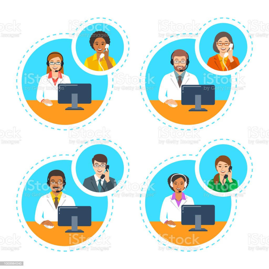 Doctors with headsets talk by phone with patients royalty-free doctors with headsets talk by phone with patients stock illustration - download image now