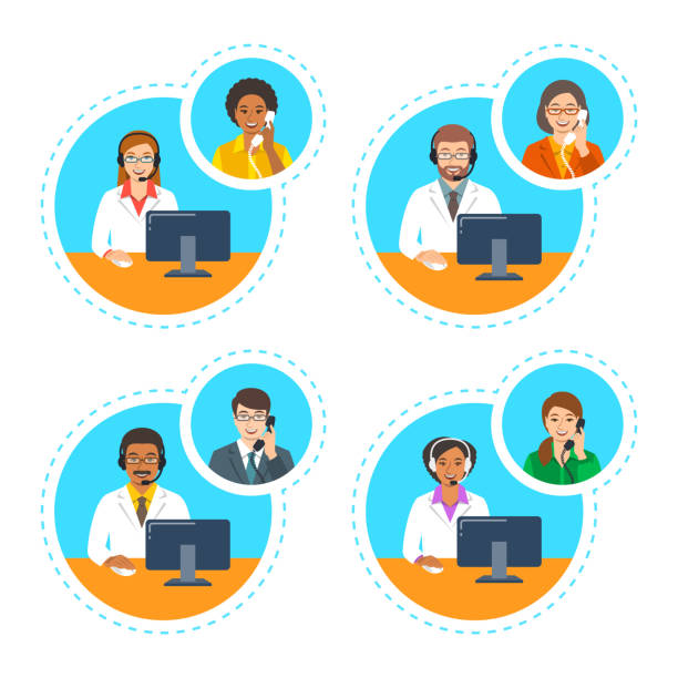 Doctors with headsets talk by phone with patients Medical call center support operators. Doctors with headsets talk by phone with patients. Vector cartoon illustration. Customer care service online. Women and men of different ethnicity in white coats call centre illustrations stock illustrations