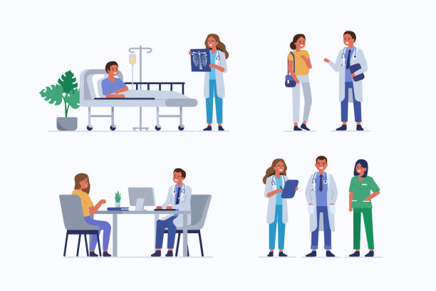 doctors with patients Medical staff and patients. Female doctor check patients x-ray in clinic. Male doctor therapist consulting woman. Healthcare team in hospital. Medical People characters set. Flat vector illustration. doctor and patient stock illustrations