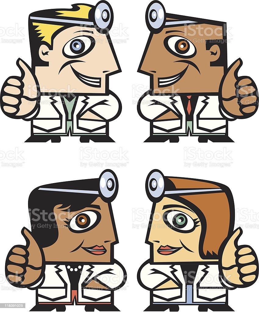 Doctors with thumbs up royalty-free stock vector art