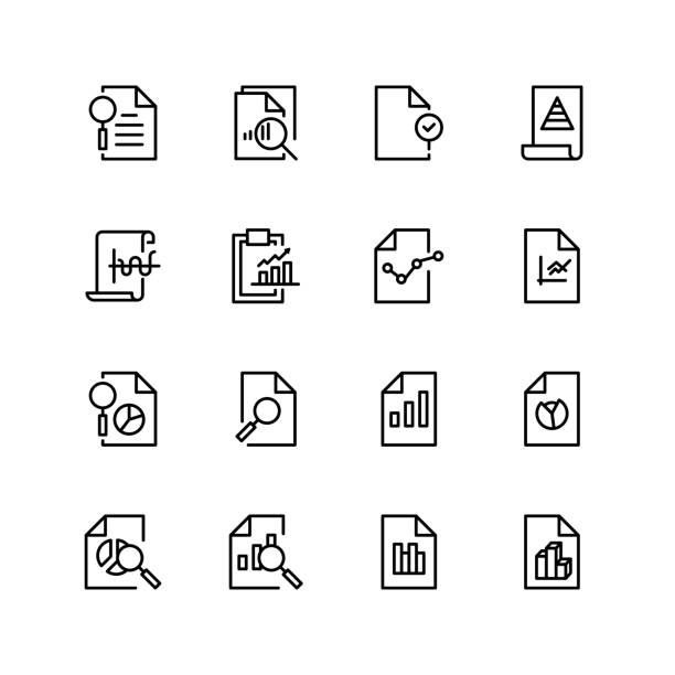Document analytic icon Document icon set. Collection of high quality black outline logo for web site design and mobile apps. Vector illustration on a white background. validation stock illustrations