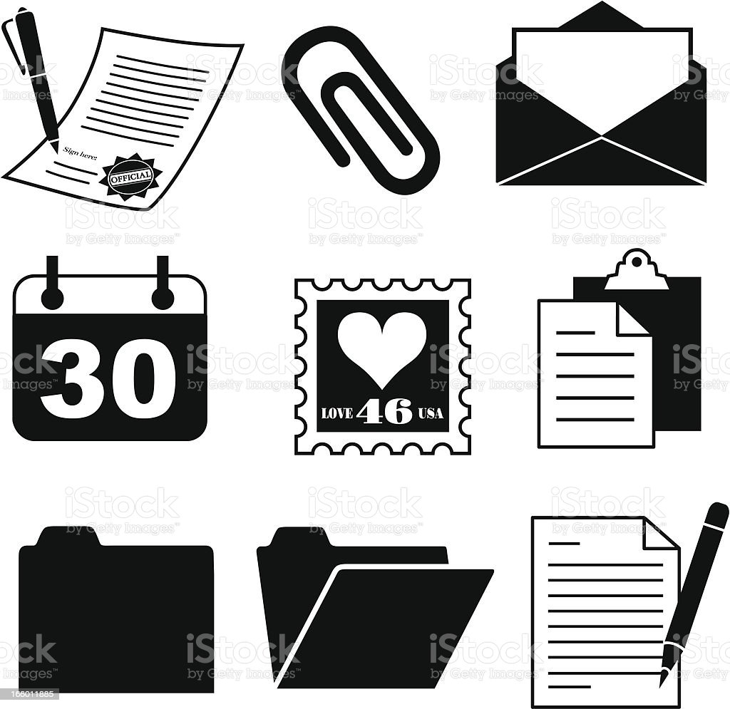 Büromaterial clipart  Document And Office Supply Icons stock vector art 166011885 | iStock