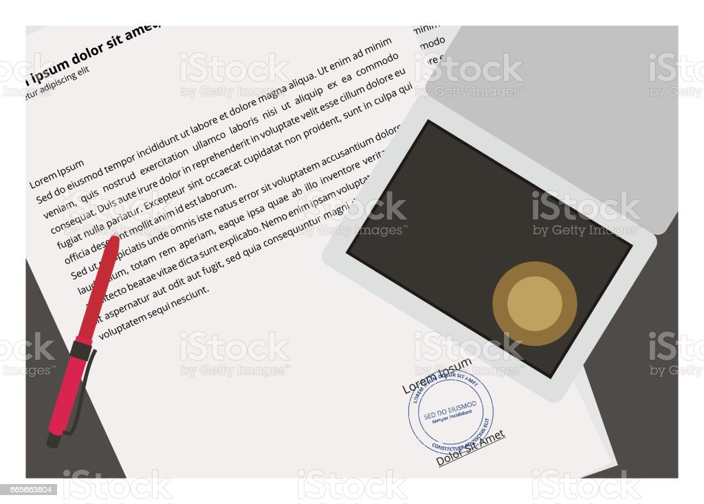 document and stamp simple illustration vector art illustration