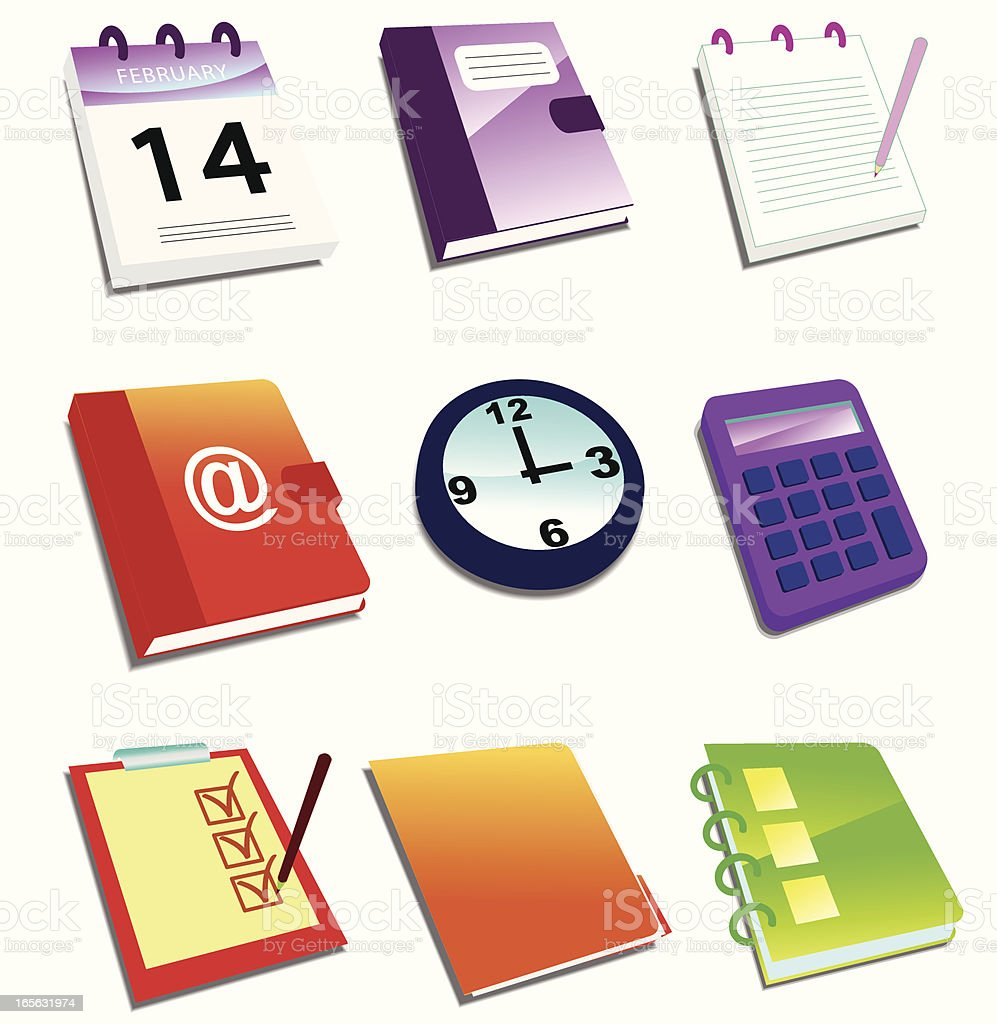 Document and Task Icon Set 3D royalty-free document and task icon set 3d stock vector art & more images of address book